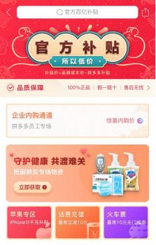 """拼多多上线""""抗疫频道"""":""""百亿补贴""""全面覆盖医卫用品"""