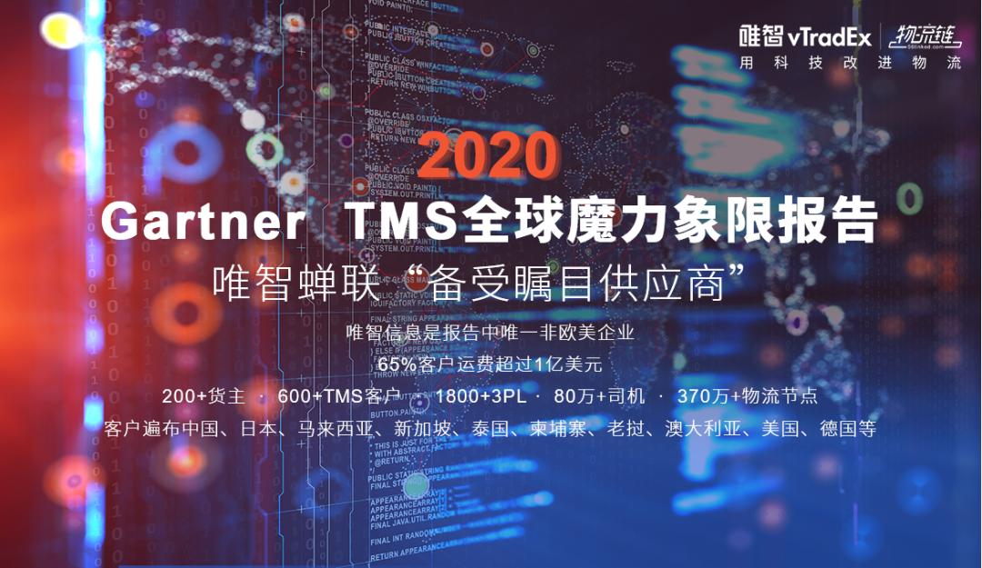 """2020年Gartner TMS全球魔力象限报告发布,唯智信息作为唯一非欧美企业蝉联""""备受瞩目供应商"""""""
