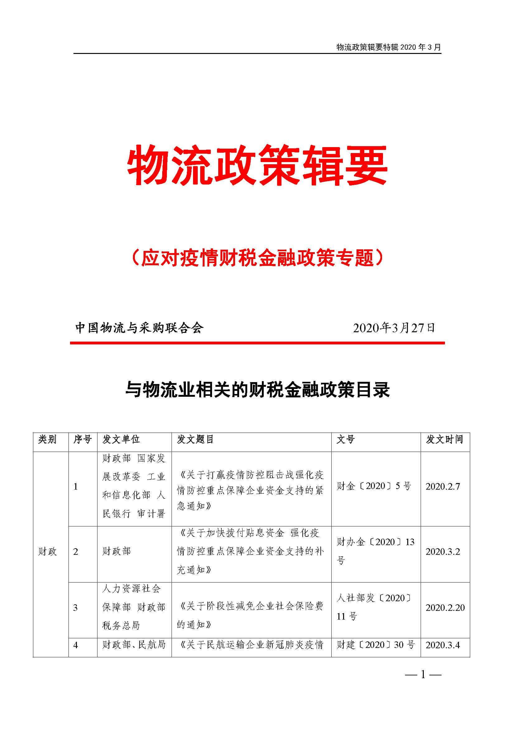 物流政策辑要 ——应对疫情财税金融政策专题(附下载)